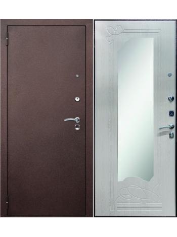 Входная дверь Гермес Зеркало Беленый дуб