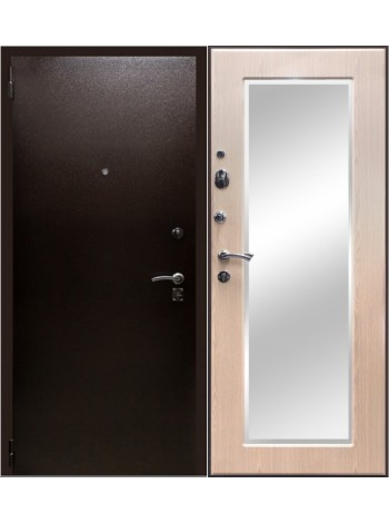 Входная дверь Зевс Зеркало Беленый дуб